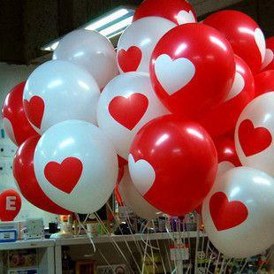 Balls with a pattern - a heart (50 pcs)   Шарики с рисунком - сердечком (50 шт)