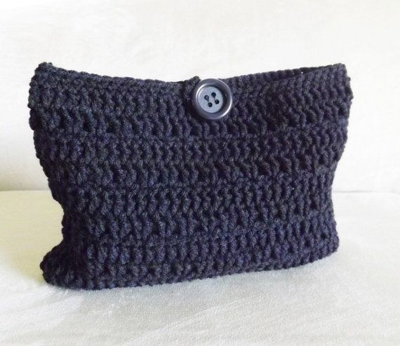 Crochet Cosmetic Bag : Crochet black make up bag, crochet cosmetic bag, crochet mini bag, fa ...