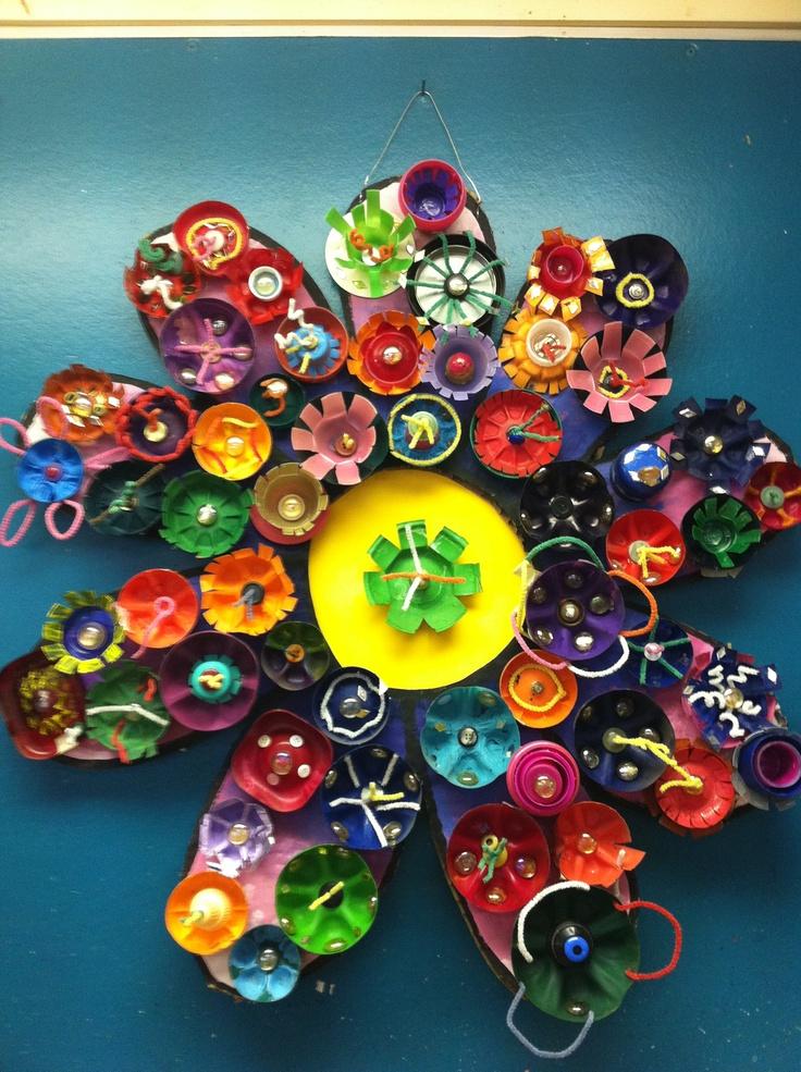 63 best waste 2 art sculpture ideas images on pinterest - Plastic bottle caps crafts ideas ...