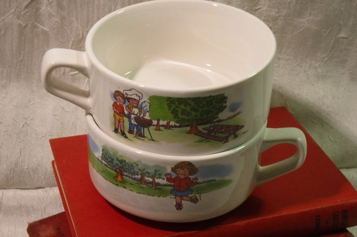 Campbell Kids Soup Bowls / Vintage 1980's / Set of 2 / Retro Dining by OriginalVintageGypsy on Etsy