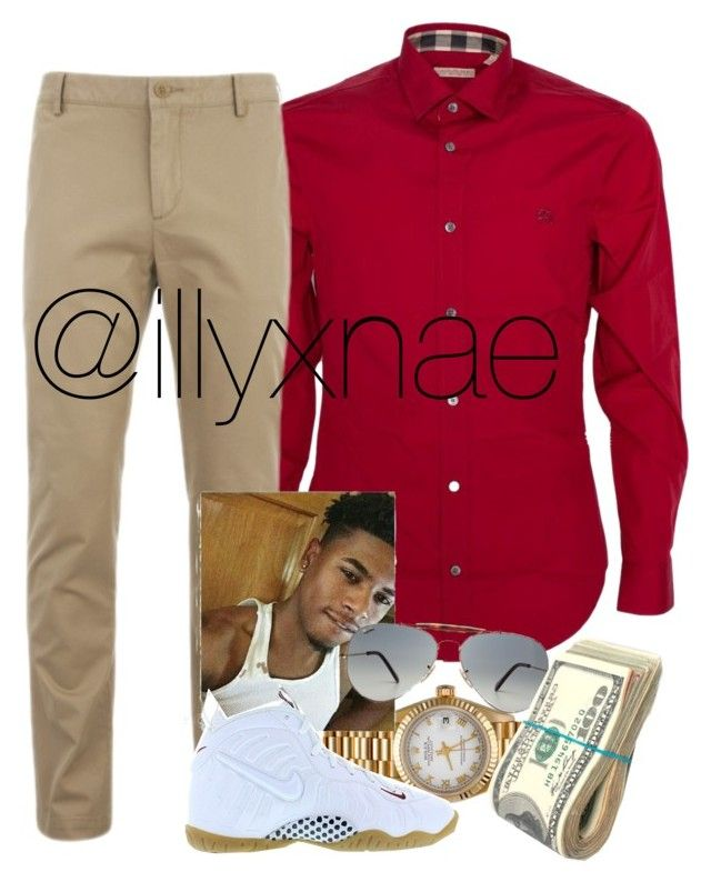 """""""Thug Date """" by slayzhane ❤ liked on Polyvore featuring Burberry, Lacoste, Rolex, NIKE, Ray-Ban, men's fashion and menswear"""