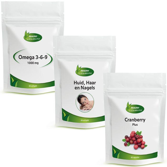 Het Vrouw-pakket van Vitaminesperpost.nl bevat Huid Haar en Nagels, Cranberry Plus en Omega 3-6-9. Pakket prijs: €29,95