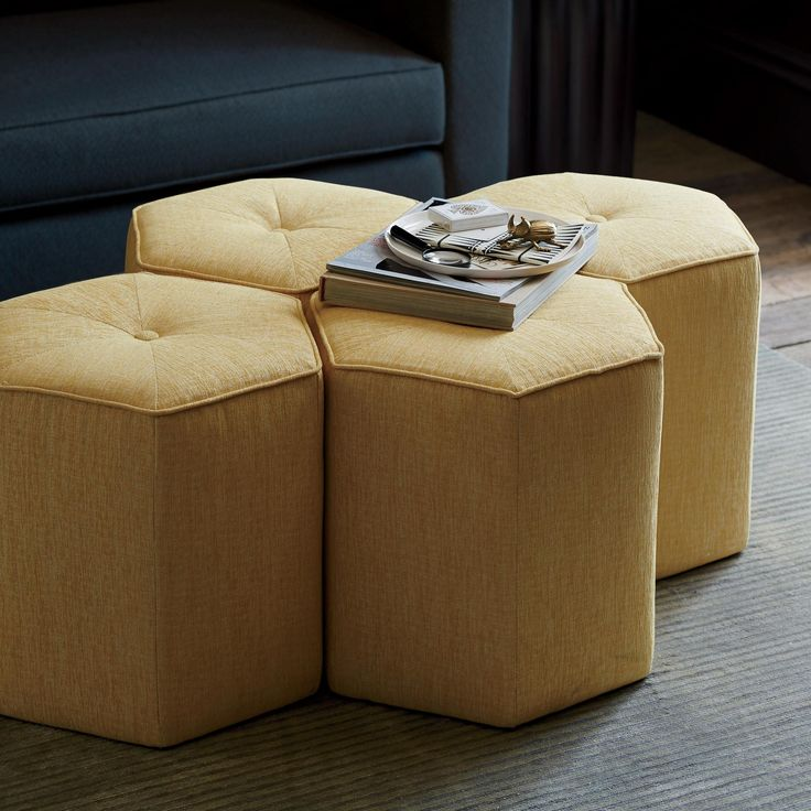 Pillar Ottoman | Modern, chic and effortless to incorporate, the Pillar Ottomans will be your new favorite accent. The single button tuft and considered welt add just enough tailoring to lend this piece to both traditional and contemporary interiors. Placed next to a sofa or bed as a side table, bunched in lieu of a coffee table or in the living room as seating, this ottoman is endlessly versatile.