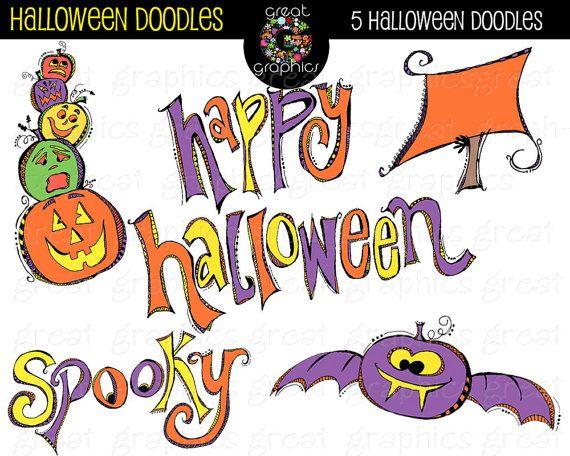 Halloween Clipart Digital Halloween Clip Art Halloween Doodle ...