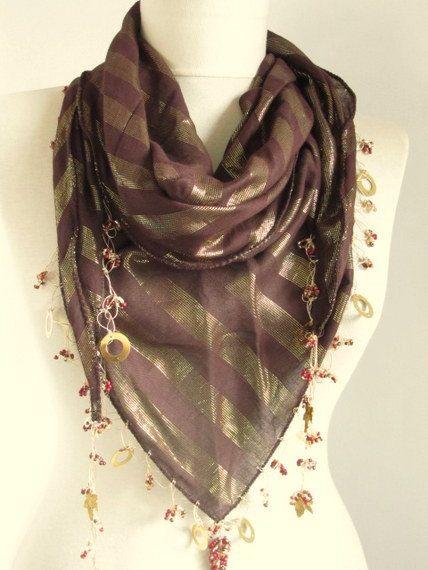 Christmas gift Tringle Dark Brown Turkish oya scarf by asuhan, $21.90