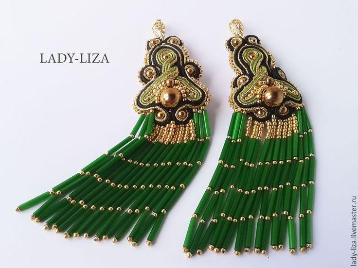 Купить Серьги Тайна - восточные зеленые золотые длинные из бисера - зеленый, золотой, золотой браслет