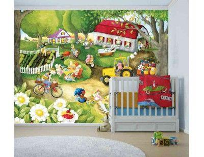 """Old MacDonald has a Farm"". A wallpaper mural from Muralunique.com. Original painting from Johanne Pépin. https://www.muralunique.com/old-macdonald-has-a-farm-105-x-8-320m-x-244m.html"