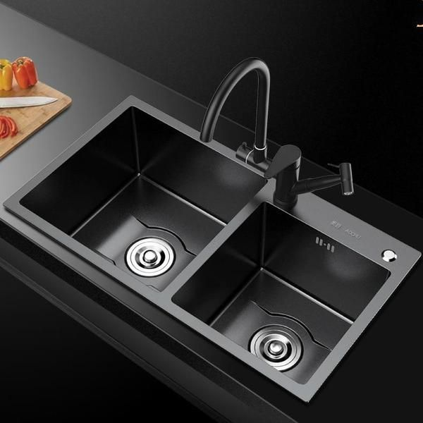 Daxon Black Nano Stainless Steel Double Kitchen Sink With Soap Dispe Double Stainless Steel Kitchen Sink Double Kitchen Sink Black Stainless Steel Kitchen