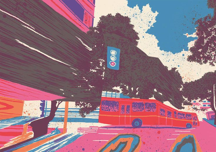Tricolored Illustrations Inspired by a Random Walk using Google Street View – Fubiz Media