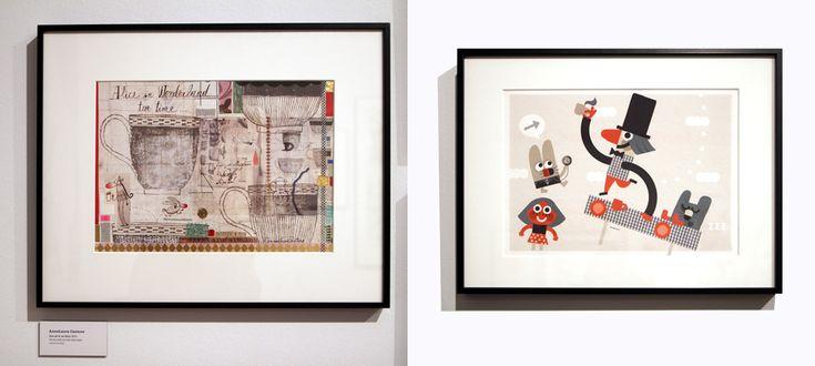 A la izquierda: Anna Laura Cantone  | Hora del té con Alicia, 2015 | Técnica mixta con tinta sobre papel A la derecha: Miguel Ordóñez | Una merienda de locos, 2015 | Lápiz, collage y digital sobre papel