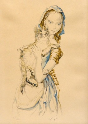 Tsuguharu Foujita - Young girl with cat, c. 1960