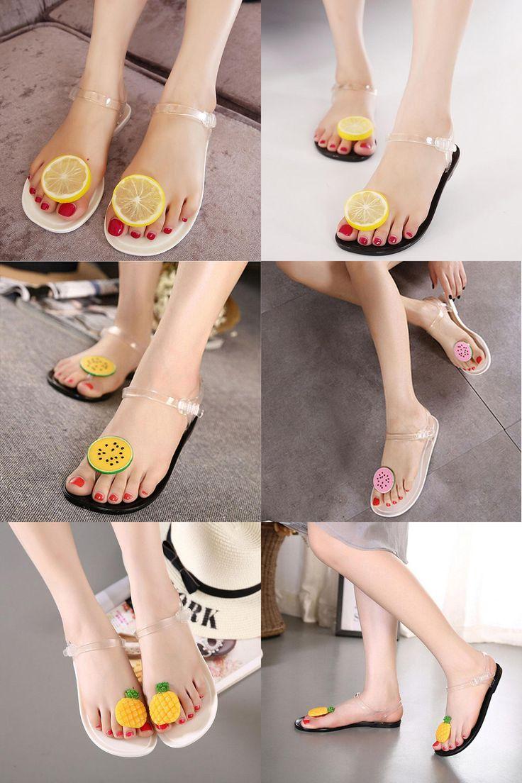[Visit to Buy] 2016 Summer Women Jelly Sandals Shoes Cute Lemon Flip Flops Girls Flat Beach Sandals Fruit Flower Flip Flops OR858690 #Advertisement
