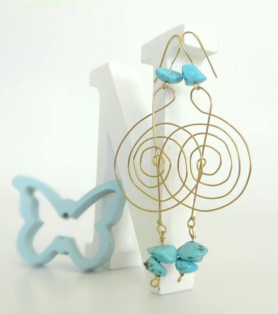 Gold EarringsBrass Wire Earrings Turquoise Earrings Tribal