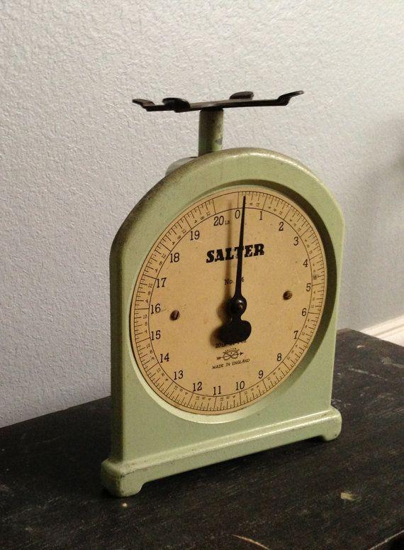 Antique Vintage Sage Green Cast Iron Salter Scale No. by clopedi, $159.95