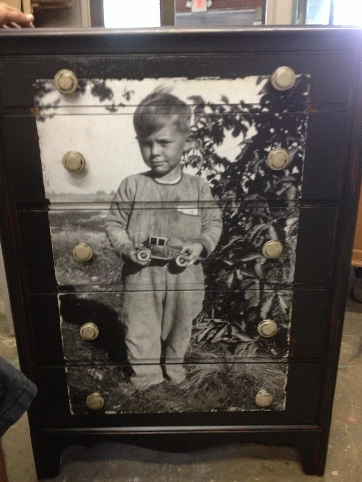 This gal decoupaged a dresser with a photo of her father as a little boy for her son who is his namesake. I love this!