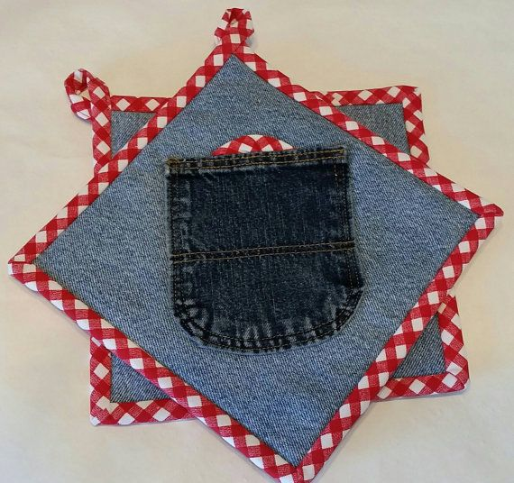 Dril de algodón y agarraderas de guinga roja Set de dos