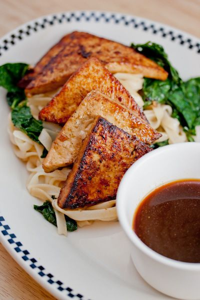 Pan Fried Tofu, Kale, and Stir-Fried Noodles: Pan Fries, Garlic Clove, Meatloaf, Fries Tofu, Tofu Recipes, Stir Fries Noodles, Dips Sauces, Maple Syrup, Rice Noodles
