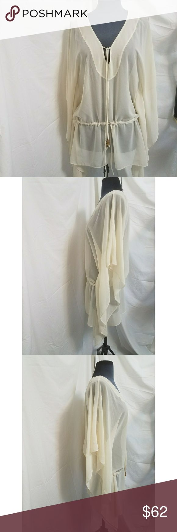 Rachel Roy Cream  Batwing Sheer Top Size XS This Rachel Rachel Roy top is in great condition.  See the last photo for a size chart.  It is made of 100% Polyester.  My home is smoke-free and pet-free.  Check out the other items in my closet to bundle two or more items for a great bundle discount.  I consider all offers.  Happy Poshing! RACHEL Rachel Roy Tops