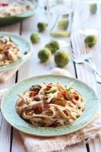 Carmelized Brussel Sprout and Bacon Fettuchine Alfredo-3