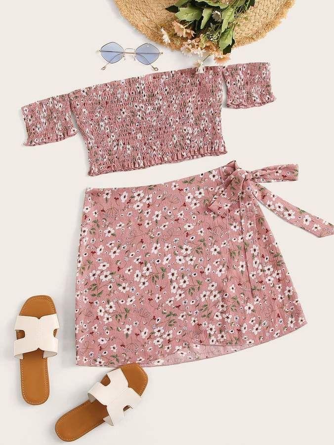 Pink Pink Ditsy Floral Bardot Playsuit