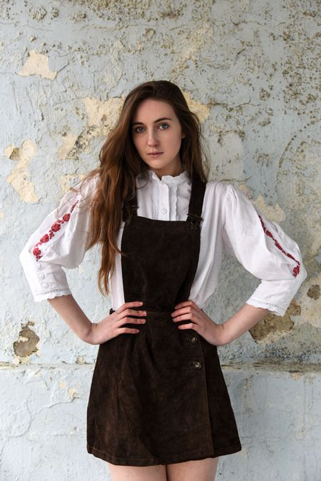 Frolicking with Clementine: Native suede dungarees and hippy embroidered shirt - vintage