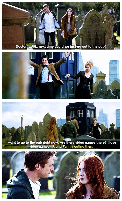 The final moments of the Pond Family. This is the last time all four of them are together. The next time we see The Doctor, he is living on a cloud, ignoring the world, and mourning the death of his family. The next time we see River, she's a ghost in a library. And Amy and Rory lived to death. This was it. (gif set)