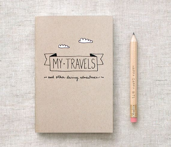 Travel Journal & Pencil Set, Mini, Recycled - Stocking Stuffer - Hand Lettered, My Travels and Daring Adventures