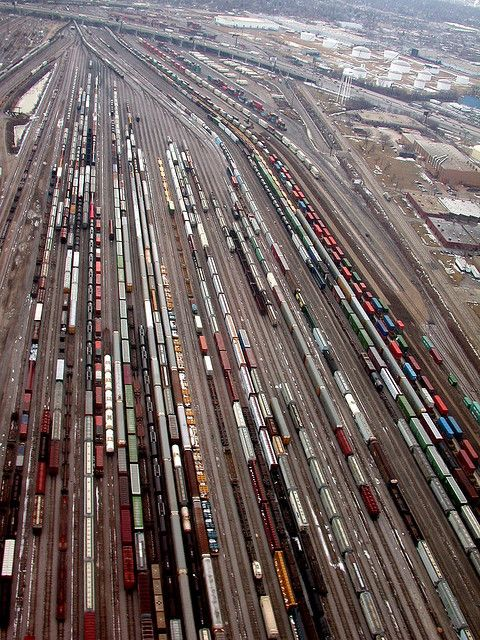 Aparcamiento o pista o patio para trenes. Chicago.