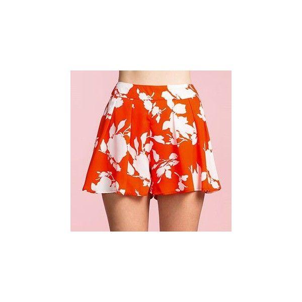 Printed Chiffon Wide Leg Shorts (23 CAD) ❤ liked on Polyvore featuring shorts, women, orange shorts and chiffon shorts