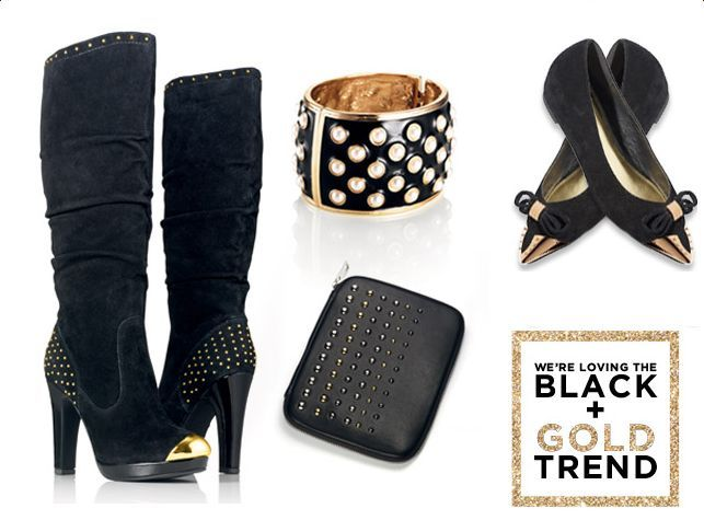 SPONSORED: TRENDING NOW: BLACK AND GOLD-- Black and Gold is trending this season. Get this fall's look with HIGH PERFORMER BOOTS, HERE'S A TIP FLATS, CHECK OUT MY IPAD TECH CASE, and IN BLACK AND WHITE BRACELET @ www.meetmark.com