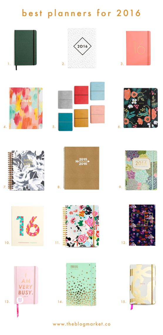 Stay organized with these pretty 2016 planners! via The Blog Market                                                                                                                                                                                 More