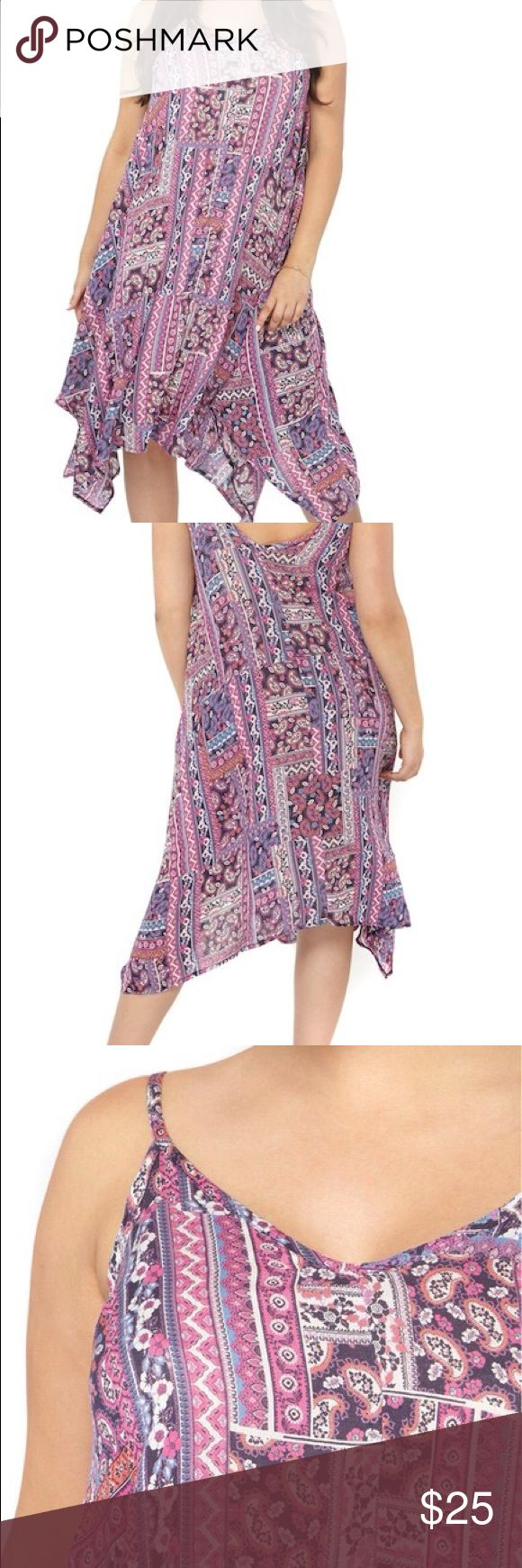 Handkerchief Hem Print A-Line Dress (Plus) Cute patch work paisley print in a brilliant array of colors adds to the boho vibe of a light and easy slip dress with a fluttering handkerchief hem. Dress slips on over the head, sleeveless, v-neck,fixed spaghetti straps 100% viscose. Evans Dresses Midi