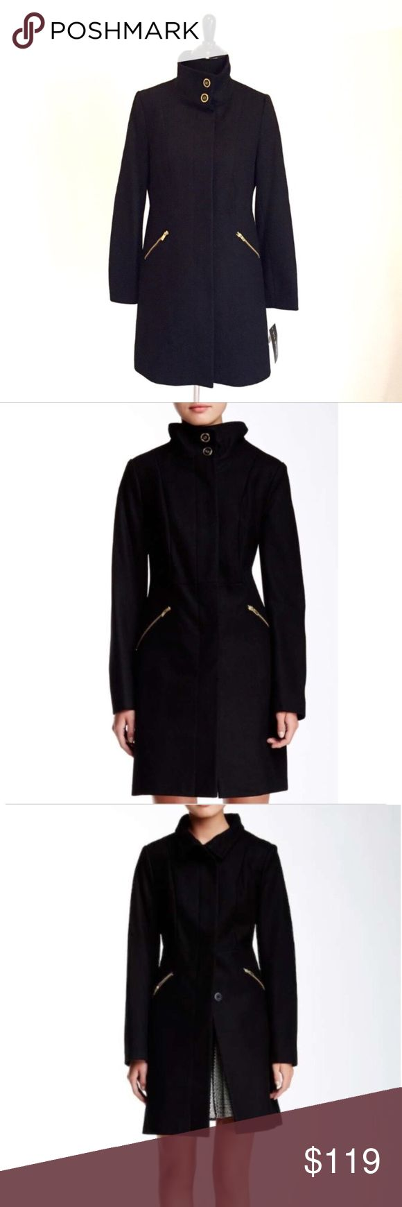 Via Spiga Black Wool Blend Coat New With Tags- keep warm in this flattering black coat with stand up collar, long sleeves, concealed front button closure, 2 front zip pockets and full lining. Shell:60% Wool, 30% Polyester, 10% Viscose. Lining: 100% Polyester. Measurements are included in last photo. Via Spiga Jackets & Coats