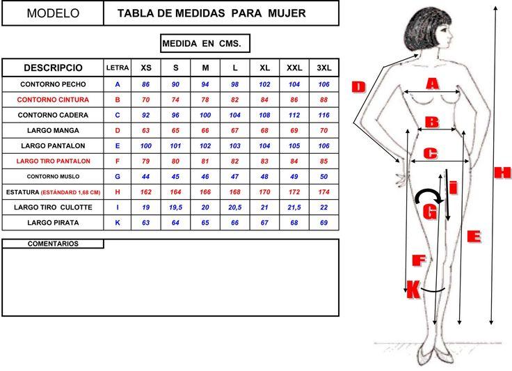 tabla de medidas mujer xs s m l xl xxl