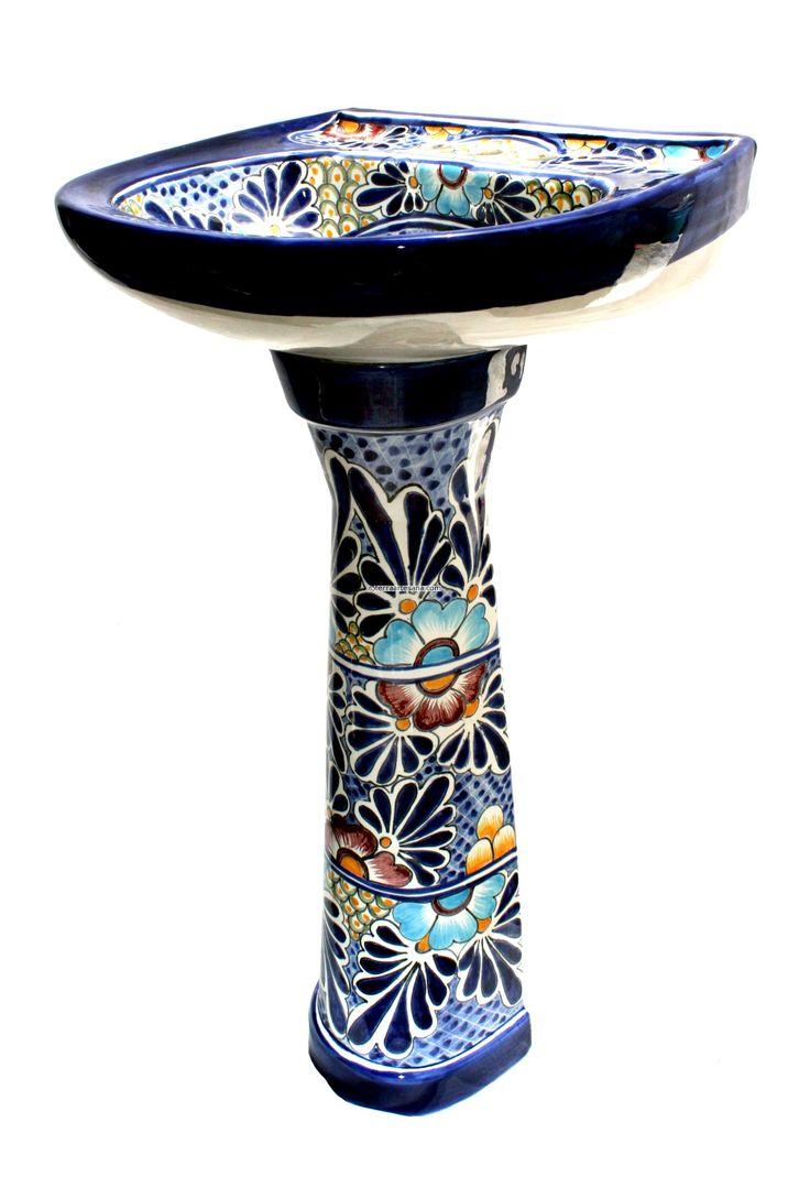 Talavera ceramic birdbaths eclectic bird baths phoenix by - Talavera Pedestal Sink Google Search