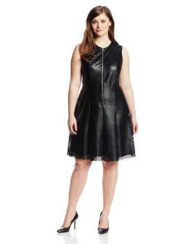Calvin Klein Women's Plus-Size Perforated Fit and Flare Drss Dress