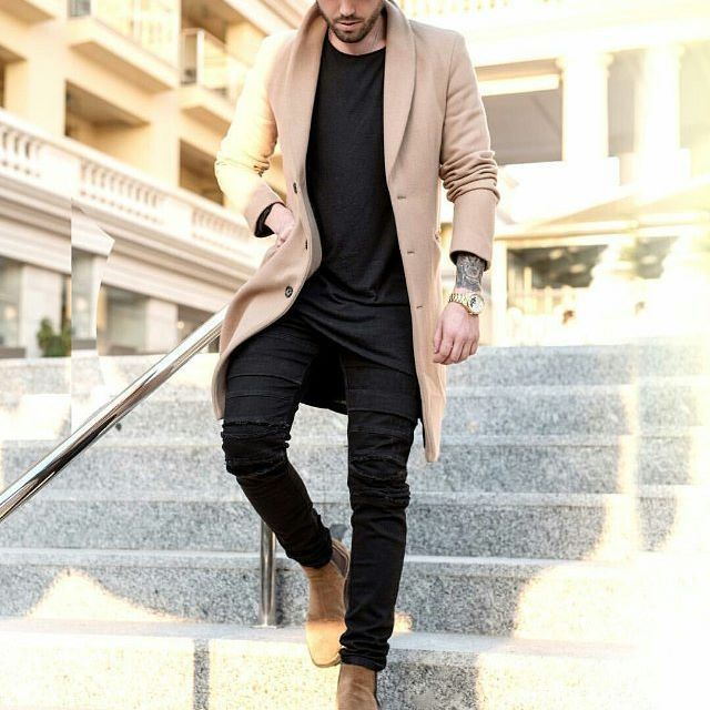 camel and black // menswear, mens style, fashion, black denim, jeans, chelsea boots, topcoat, camel coat, street style, #sponsored
