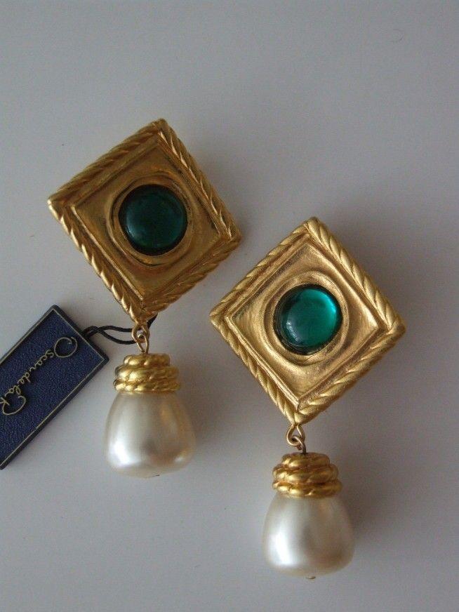 Vintage 80's NOS Oscar de la Renta oorclips met groene steen en hanger - Sieraden - Vintage
