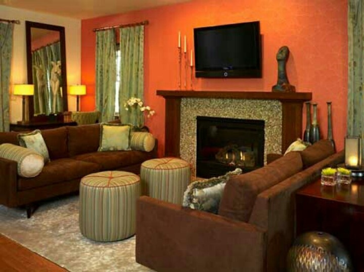 Orange And Brown Home DecorOrange And Brown Home Decor   Interior Design. Orange Living Rooms. Home Design Ideas