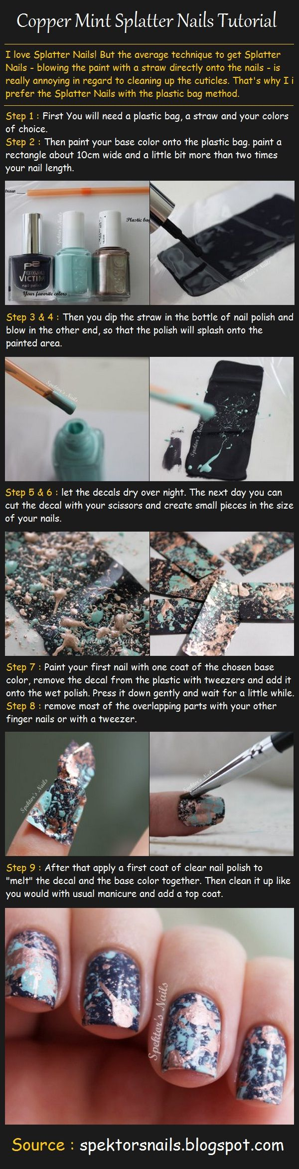 Copper Mint Splatter Nails Tutorial: Plastic Bags, Nails Art, Copper Mint, Mint Splatter, Nails Polish, Splatter Nails, Nails Decals, Diy'S Nails, Nails Tutorials