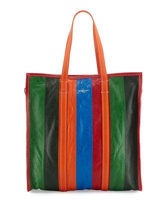 1645 Bazar+Medium+Striped+Leather+Shopper+Tote+Bag,+Multi+by+Balenciaga+at+Neiman+Marcus.