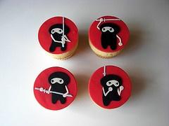 hand cut and painted ninja cupcakes
