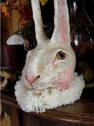 paper mache rabbit in ruff