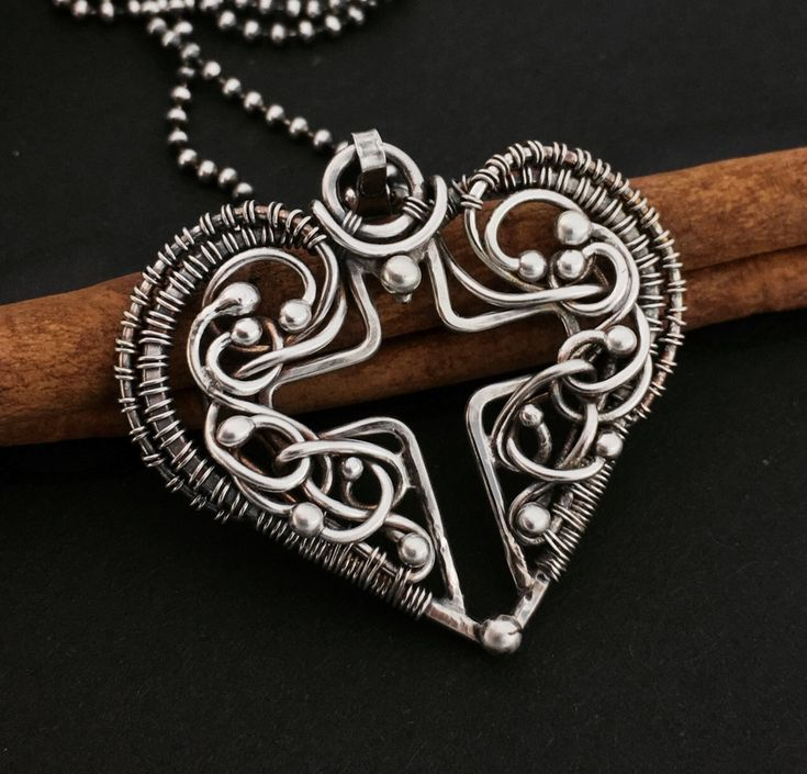 Silver cross Wire wrapped pendant by atelierblaauw on Etsy