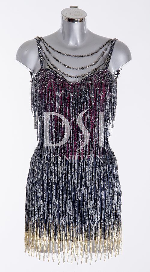 Jet Hematite Latin Dress as worn by Caroline Flack on Strictly Come Dancing 2014. Designed by Vicky Gill and produced by DSI London