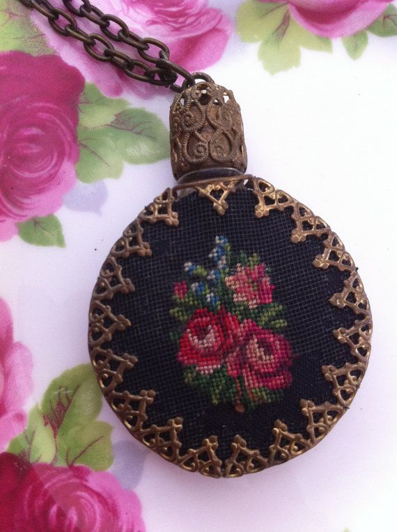 Petit Point roses perfume bottle pendant