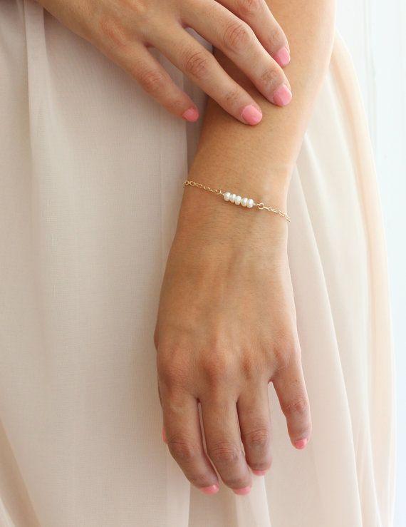 Dainty bracelet - Delicate gold pearl bracelet on Etsy, $28.00