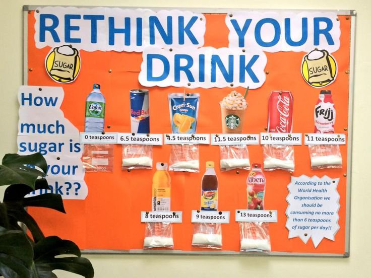 rethink your drink, sugar packs below drinks poster