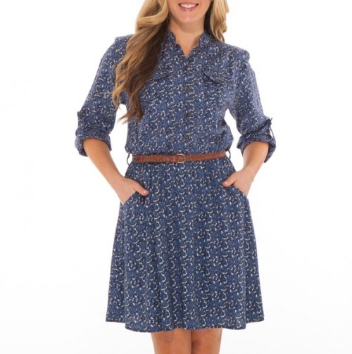 Long Sleeve Belted Shirt Dress with Pockets - dark blue