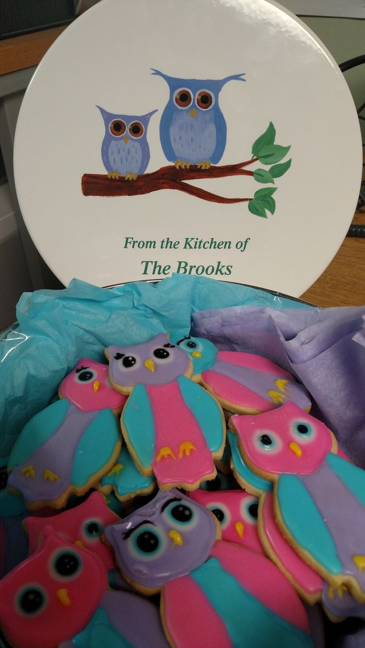 Owl Cookie Decorations! How cute are these? Goes along perfect with the personalized owl cookie tin!
